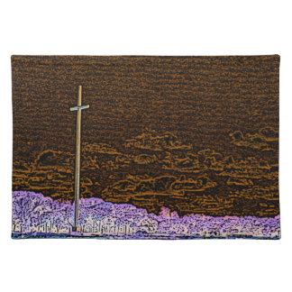 cross invert st augustine sketch landscape cloth placemat