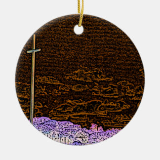 cross invert st augustine sketch landscape Double-Sided ceramic round christmas ornament