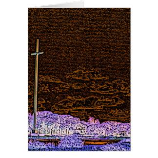 cross invert st augustine sketch landscape greeting card