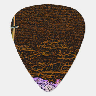 cross invert st augustine sketch landscape guitar pick