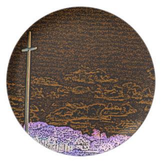 cross invert st augustine sketch landscape party plates