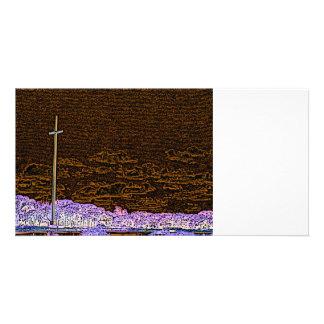 cross invert st augustine sketch landscape photo card