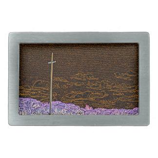 cross invert st augustine sketch landscape rectangular belt buckle