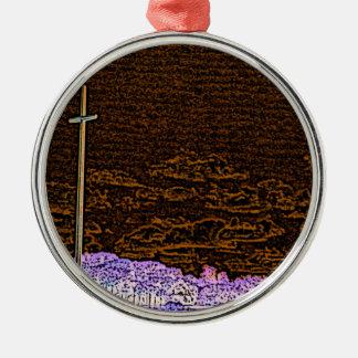 cross invert st augustine sketch landscape round metal christmas ornament