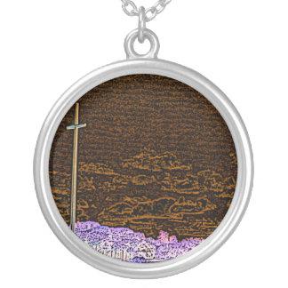 cross invert st augustine sketch landscape round pendant necklace