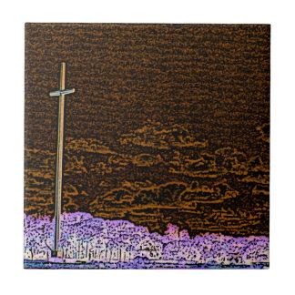 cross invert st augustine sketch landscape small square tile
