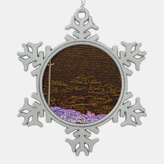cross invert st augustine sketch landscape snowflake pewter christmas ornament