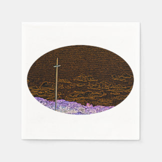 cross invert st augustine sketch landscape disposable napkin