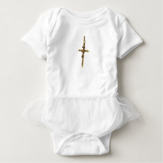 Cross Jesus Christ gold horizontal Baby Bodysuit