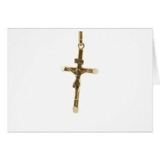 Cross Jesus Christ gold horizontal Card