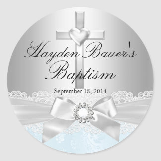 Cross & Lace Bow Blue Baptism Sticker