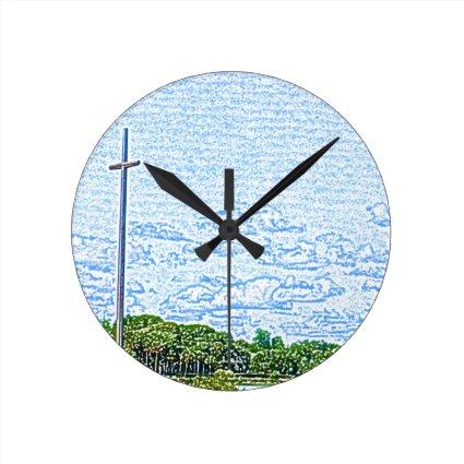 cross landscape sketch st augustine florida round wall clocks