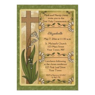 Cross, Lilies, Daisies Religious Invitation