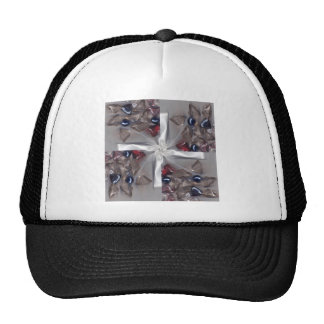 Cross made from stones and bow trucker hat