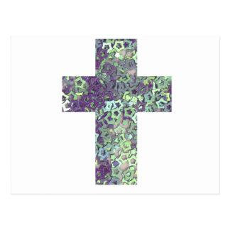 cross made of shiny stars postcard