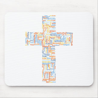 Cross made of words mouse pad