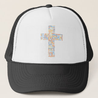 Cross made of words trucker hat
