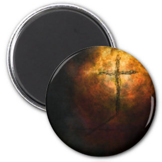 Cross 2 Inch Round Magnet