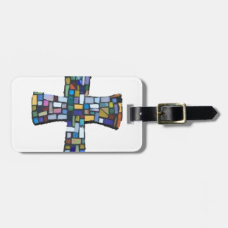 cross mosaic colored red blue green Christian Bag Tag