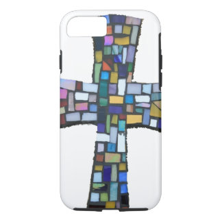 cross mosaic colored red blue green Christian iPhone 7 Case
