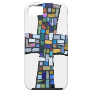 cross mosaic colored red blue green Christian iPhone SE/5/5s Case