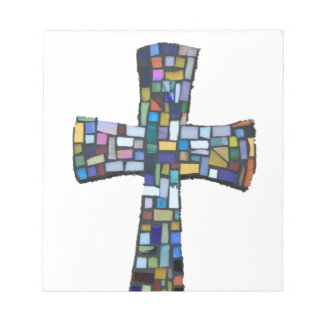 cross mosaic colored red blue green Christian Memo Pad