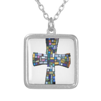 cross mosaic colored red blue green Christian Silver Plated Necklace