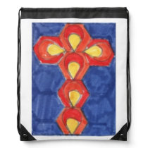Cross Motif Drawstring Bag