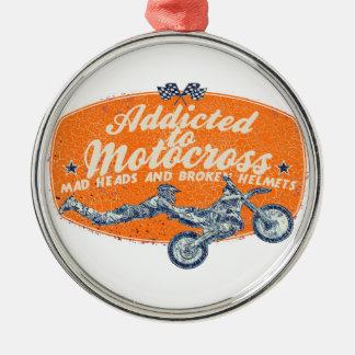 Cross moto racing metal ornament