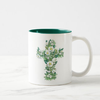 Cross mug - Winter Flowers
