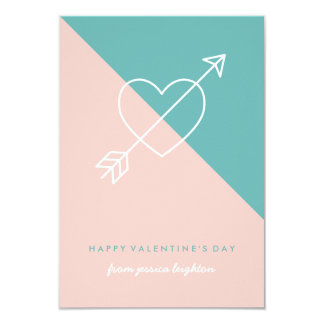 Cross My Heart Classroom Valentine - Turquoise Card