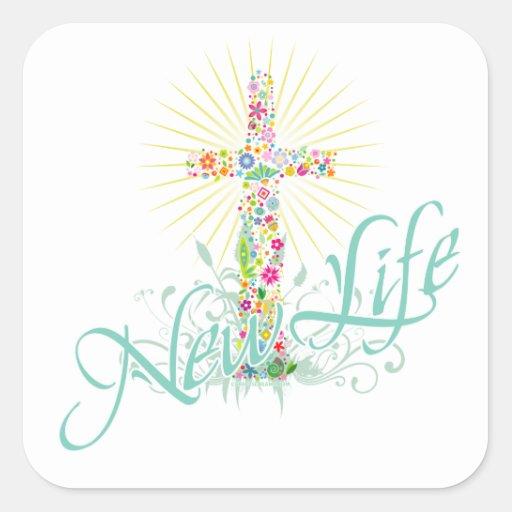 Cross of Flowers NL-1 Square Sticker