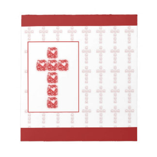 Cross Of Hearts On Red Memo Note Pads