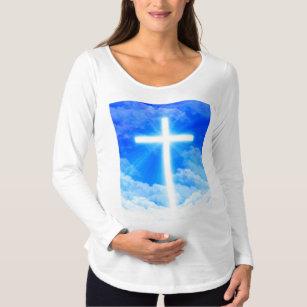 ae3e46f60ad9f Cross of Light Jesus Christ Customizable Christian Maternity T-Shirt