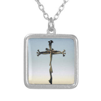 Cross of Nails Jesus Save Rustic Square Pendant Necklace