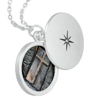 Cross of Protection Round Locket Necklace