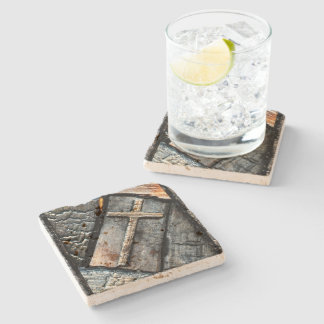 Cross of Protection Stone Coaster