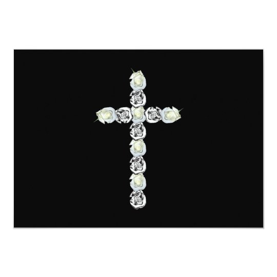 Cross of Silver and White Roses Card