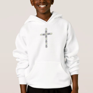 Cross of Silver and White Roses Hoodie