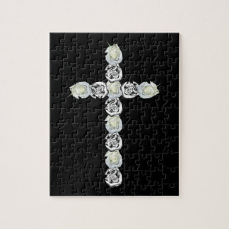 Cross of Silver and White Roses Jigsaw Puzzle