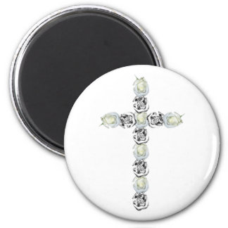 Cross of Silver and White Roses Magnet