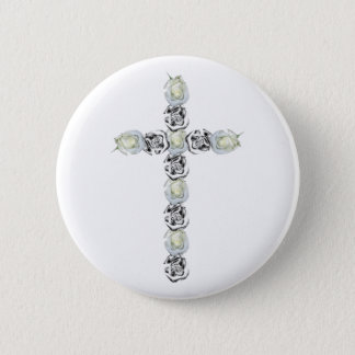 Cross of Silver and White Roses Pinback Button