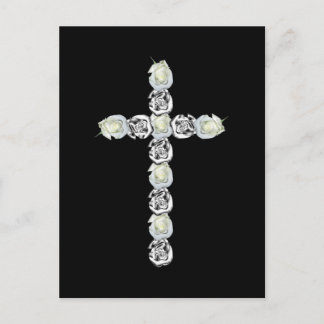 Cross of Silver and White Roses Postcard