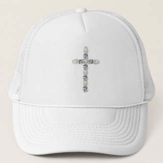 Cross of Silver and White Roses Trucker Hat