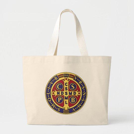 Cross of St. Benedict Large Tote Bag