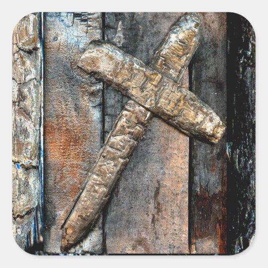 Cross of Strength Square Sticker