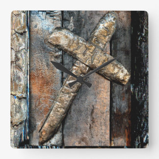 Cross of Strength Square Wall Clock