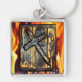 Cross of The Apocalypse Silver-Colored Square Keychain