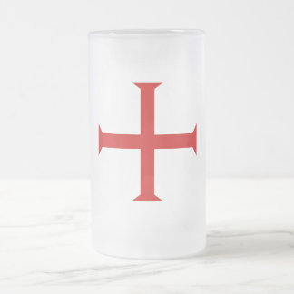 Cross of the Knights Templar Frosted Glass Beer Mug