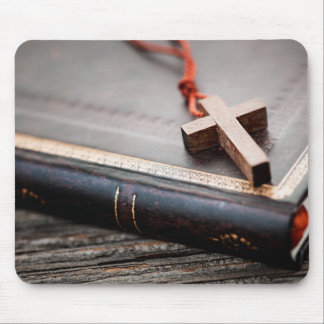 Cross on Bible Mouse Pad